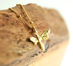 Meli necklace - gold necklace with bee pendant and satellite chain, gold bee charm necklace, delicate necklace, kealoha, maui, hawaii