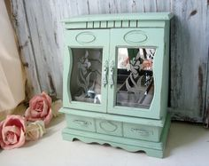 Mint Green Vintage Jewelry Box With Floral Glass Doors, Cottage Chic Pastel…