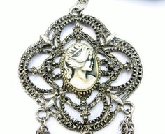 Large Cameo Pendant Necklace with Fringe by EclecticVintager
