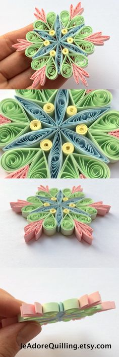 Snowflakes Green Pink Blue Christmas Tree Decor Winter Ornaments Gift Toppers Fillers Office Corporate Paper Quilling Quilled Handmade Art