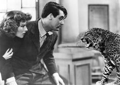 """Katharine Hepburn with Cary Grant in """"Bringing Up Baby"""""""