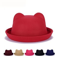 06b81c4d158 Cute Car Ears Top Cap Women Lady Fashion Vintage Jazz Bowler Felt Fedora Hat   HatsForWomenBowler