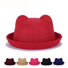 040635b08d4 Cute Car Ears Top Cap Women Lady Fashion Vintage Jazz Bowler Felt Fedora Hat   HatsForWomenBowler