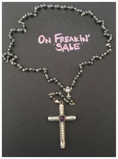 ON SALE! Cruel Intentions Rosary-Sterling Silver Amethyst Classic Pendant with Pewter Connector and Hematite Rosary Beads by KesaLLC on Etsy