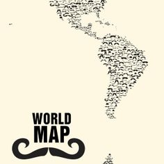 Moustache World Map - Facial hair connoisseurs will want to get a better grasp of the many countries and places that inhabit Earth with the Moustache World Map. Moustache Party, Mustache, Ikea Photo Frames, Rebel, Unique Maps, Nautical Gifts, World Map Wall Art, Subway Art, Paper Ship
