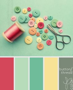 watermelon, seafoam, dark seafoam, buttery yellow and chalkboard color scheme --- For a little girls room.