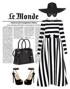 """BLACK AND WHITE-STRIPES!!"" by themodernduchess ❤ liked on Polyvore featuring Valentino, Prada, Bondi Beach Bag Co and Linda Farrow"