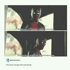 "<<<When I heard this the first time I watched it in the theaters, my reaction was to go, ""Daaaaayyuuuuummmm!"" with my hand over my mouth. I literally cringed into my friend's shoulder from the savageness of this wall break.<<<hehe that is the best Marvel Dc Comics, Marvel Avengers, Marvel Funny, Avengers Memes, Geeks, Loki, Dc Memes, Funny Memes, Spideypool"