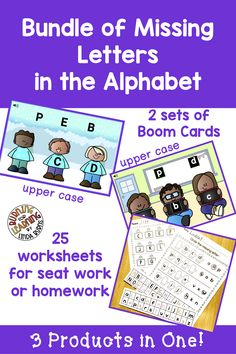 Missing Letters Bundle - Boom Cards and Worksheets Reading Stations, Literacy Stations, Literacy Centers, Kindergarten Lessons, Teaching Kindergarten, Teaching Reading, Teaching Sight Words, Teaching Phonics, Beginning Reading