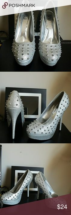 """Speed limit98 Silver Spike Heels """"Shark""""9Read Speed limit Silver Blingy Spiked high heels Shark  tagged as 10 run small fit 9 better  had on for half hour too small for me like new no defects Speed Limit 98 Shoes Platforms"""