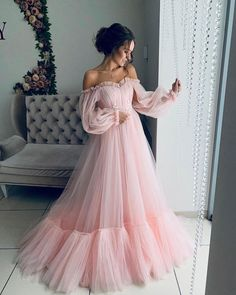 Pink Prom Dress,A-Line Evening Dresses,Tulle Prom Dresses,Off The Shoulder Prom Gown Princess Prom Dresses, Pink Party Dresses, Cute Prom Dresses, Tulle Prom Dress, Ball Dresses, Elegant Dresses, Beautiful Dresses, Evening Dresses, Sexy Dresses