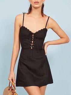 Black Spaghetti Strap V-neck Lace Up Front Lace Trim Mini Dress Tight Dresses, Sexy Dresses, Dresses For Sale, Short Dresses, Summer Dresses, Ladies Dresses, Vogue Fashion, 1950s Fashion, Fashion Top