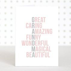 Acrostic Grandma Mother's Day Card