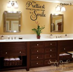 Wooden custom bathroom vanity cabinets white granite top Home Interior Exterior Bathroom Stickers, Bathroom Wall Decals, Lowes Bathroom, Basement Bathroom, His And Hers Sinks, Bad Styling, Bathroom Vanity Cabinets, Bathroom Vanities, Bath