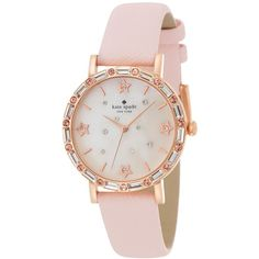 kate spade new york Women's Metro Light Pink Leather Strap Watch 34mm... found on Polyvore