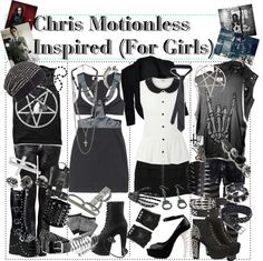 """Chris Motionless Inspired (For Girls)"" by xxxbloodyrosexxx ❤ liked on Polyvore"