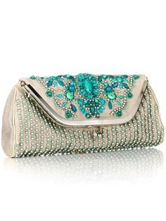 vintage style Aquamarine Beaded Clutch