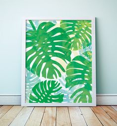 Tropical botanical print: Monstera leaf, phildodendran, Abstract Watercolor