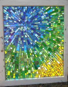 Beautiful mosaic on glass window Mosaic Crafts, Mosaic Projects, Stained Glass Projects, Mosaic Art, Mosaic Glass, Mosaic Ideas, Fused Glass, Art Projects, Blown Glass