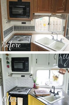 Camper Renovation 560909328580456261 - Before and after pictures of a RV kitchen renovation Source by Mamalouve Truck Camper, Diy Camper, Camper Life, Camper Van, Camper Ideas, Rv Life, Shasta Camper, Happy Campers, Rv Campers