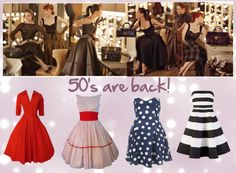 How to dress the Triangle Body Shape or Pear Shaped Woman; A-line skirts and emphasized waists, 50's-inspired is a good model