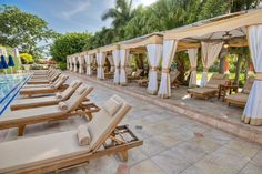 Cabanas by the pool at Sandals Ochi