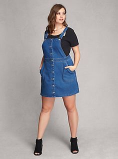 Plus Size Denim Overall Dress, MEDIUM WASH