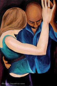Interracial Couple Slow Dance Art Print - portrait painting, mixed race love.