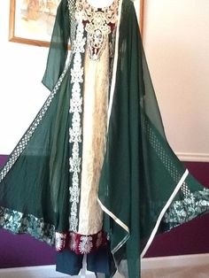 """PAKISTANI INDIAN SHALWAR KAMEEZ FANCY WEDDING PARTY DRESS 3PC LARGE SUIT 40""""/20"""""""