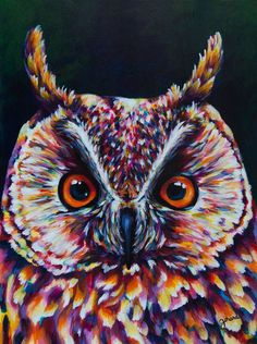 Great Horned Owl Acrylic Painting by claudelle on Etsy