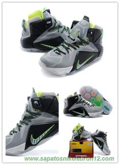 the best attitude 2acc5 301f9 Nike Lebron 12 EP Light Cinza Fluorescent Verde Preto 684593-007. Hamilton  · sapatos Nike Lebron 12 · Discount Shoes Online Black Future AIR JORDAN ...