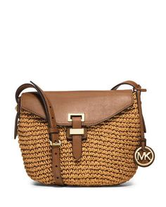Michael Kors Naomi Medium Straw Messenger Bag, Walnut $248.00 FREE SHIPPING + FREE RETURNS every day!