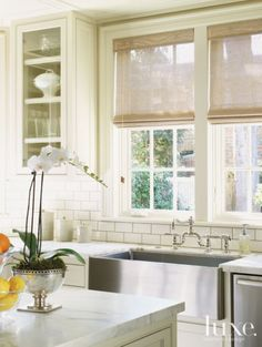 """Interior Design Ideas - """"Kitchen Sink"""" (Farmhouse sink and faucet from Fixtures & Fittings) Interior Design Magazine, Luxury Interior Design, Interior Styling, Interior Ideas, White Farmhouse Kitchens, Home Kitchens, Guest Room Essentials, Hill Interiors, Design Interiors"""