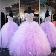 Lavender Quinceanera Dresses Ball Gown Corset Crystals Pearls Ruffles Tulle 2017 Lace Up Back Pageant Gowns For Girls Sweetheart Prom Dress Lavender Quinceanera Dresses, Cheap Quinceanera Dresses, Quince Dresses, Quinceanera Ideas, Lavender Dresses, Party Gowns, Prom Party Dresses, Pageant Dresses, Bridesmaid Dresses