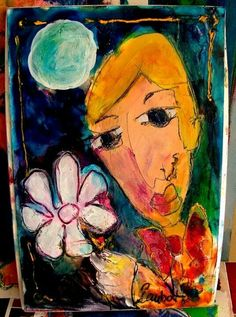 The artist combined the legends together Picasso style,Shagal style and Mattise stlye all in one bag  Own Laubar art