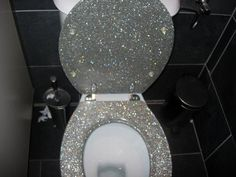 Must try with modge podge! Glitter toilet seat!
