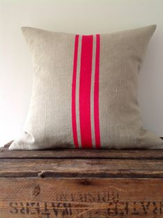 DIY- Neon French stripe linen cushion decorator pillow (cover only)