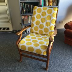 reupholstered chair in yellow spots by see/do/wander