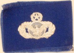 US AIR FORCE MASTER SECURITY POLICE BADGE INSIGNIA BLUE FATIGUE UNIFORM PATCH