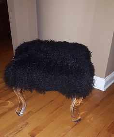 "This listing is for the Fur Bench! Dimensions are 18""L x 16""W x 17""H.  Beautiful Vienna Acrylic legs. To decrease shipping hazards, the ottoman  comes with the legs unattached. They can easily be screwed right on! Can be made in your choice of color!!"