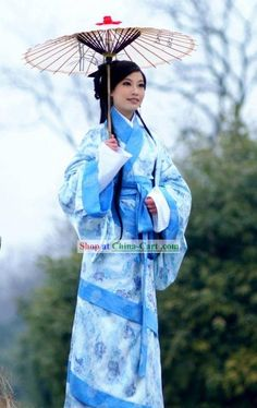 Ancient Chinese Clothing | Ancient Chinese Han Dyansty Female Clothing and Umbrella Set