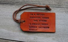 Single Custom Leather Luggage Tag by OfTheFountain on Etsy, $10.45