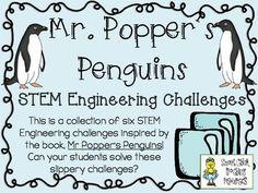 STEM Engineering Challenge Novel Pack ~ Mr. Popper's Penguins $ Insulated Ice Box Challenge Ice Cube Slide Challenge Cardboard Tube Toboggan Challenge Penguin Playground Challenge Plank and Ladders Challenge Design a Penguin Challenge