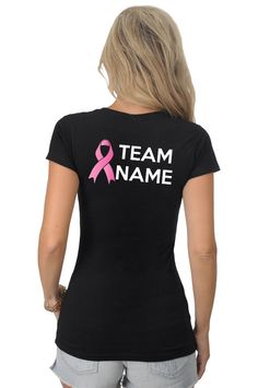 8a6f03d1d Pink Ribbon Breast Cancer or Any Color Awareness Survivor Personalized  Customizable TEAM NAME Black T-