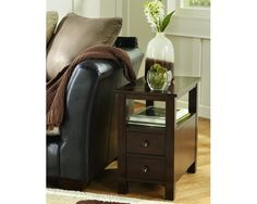 Marion - Dark Brown - Chair Side End Table by Signature Design by Ashley. Get your Marion - Dark Brown - Chair Side End Table at The Furniture Barn (IA), Charles City IA furniture store. Living Room Furniture, Home Furniture, Living Room Decor, Table Furniture, Furniture Ideas, Furniture Mattress, Parks Furniture, Regency Furniture, Royal Furniture