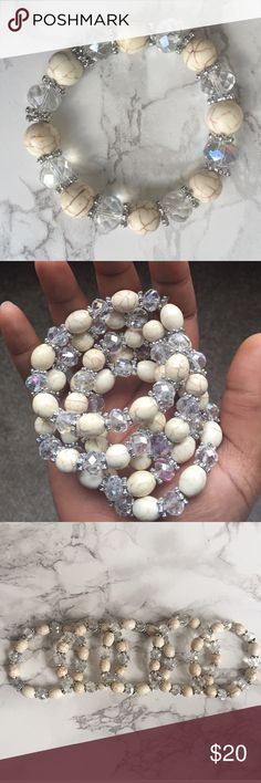 White Marble and Crystal Stretchy Bracelet Beautiful, white marble & crystal bracelet. Stretchy & will fit a wide range of wrist sizes. Nickel free, lead free. T&J Designs Jewelry Bracelets