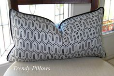 "Robert Allen's DwellStudio Maze Work in Dove Gray Lumbar Pillow Cover 12"" x 20"" $30"