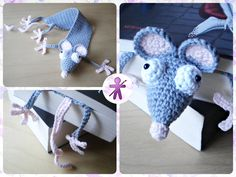 Crocheted by AmigurumisFanClub!!! Free pattern by Supergurumi: http://www.supergurumi.com/amigurumi-crochet-rat-bookmark