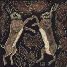 March Hares by Vikkki Hare Illustration, Illustrations, Hare Pictures, Petit Tattoo, March Hare, Rabbit Art, Bunny Art, Pet Birds, Folk Art