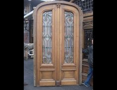 amazing old door with wrought iron and stained glass!